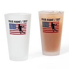Custom Lacrosse American Flag Drinking Glass
