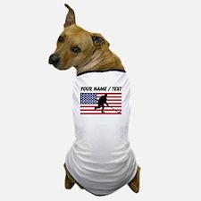 Custom Hockey American Flag Dog T-Shirt
