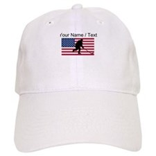 Custom Hockey American Flag Baseball Cap