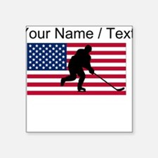 Custom Hockey American Flag Sticker