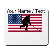 Custom Hockey American Flag Mousepad