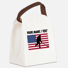 Custom Hockey American Flag Canvas Lunch Bag