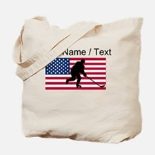 Custom Hockey American Flag Tote Bag