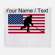 Custom Hockey American Flag Throw Blanket
