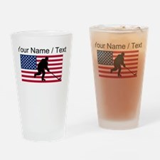 Custom Hockey American Flag Drinking Glass