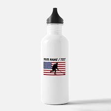 Custom Hockey American Flag Sports Water Bottle