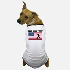 Custom Football Wide Receiver American Flag Dog T-