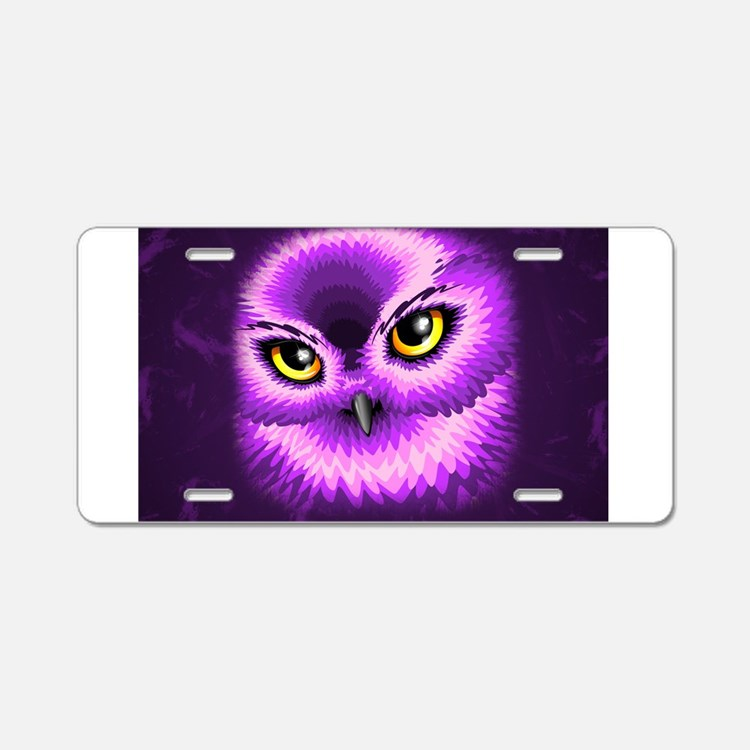 Pink Owl Eyes Aluminum License Plate