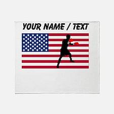 Custom Boxing American Flag Throw Blanket