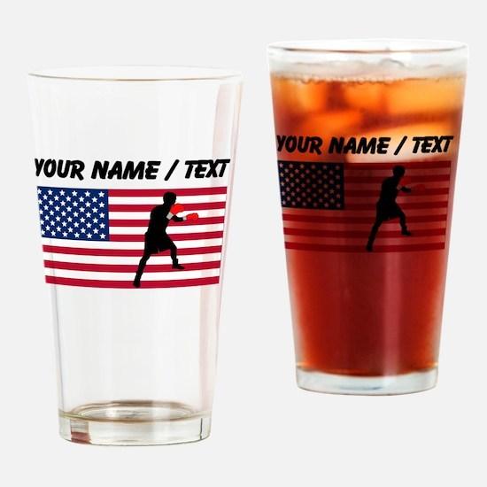 Custom Boxing American Flag Drinking Glass