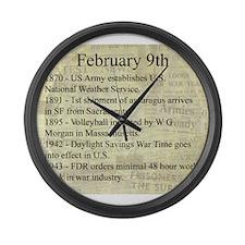 February 9th Large Wall Clock