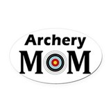 Archery mom Oval Car Magnets