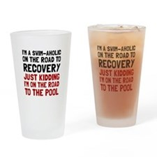 Swimaholic Drinking Glass