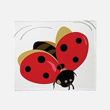 Red Ladybug-3 Throw Blanket