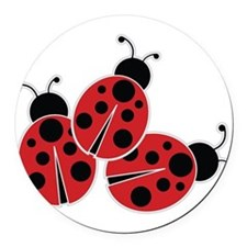 Trio of Ladybugs Round Car Magnet