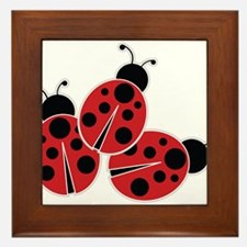 Trio of Ladybugs Framed Tile
