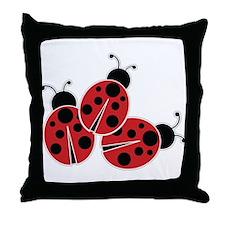 Trio of Ladybugs Throw Pillow