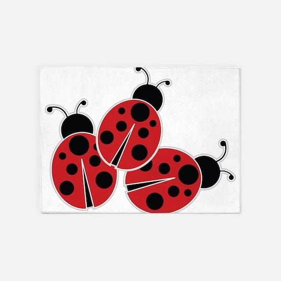 Trio of Ladybugs 5'x7'Area Rug