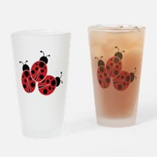 Trio of Ladybugs Drinking Glass