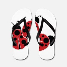 Trio of Ladybugs Flip Flops
