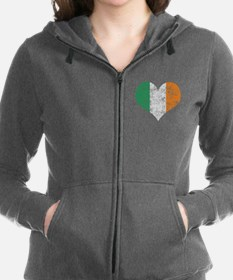 Flag of Ireland Heart Zip Hoodie