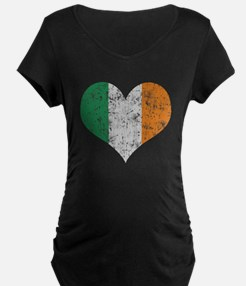 Flag of Ireland Heart Maternity T-Shirt
