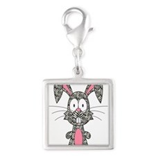 Silly Zebra Bunny Silver Square Charm