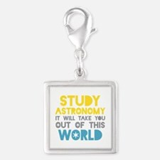 Study Astronomy Silver Square Charm