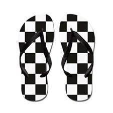 Big Black/White Checkerboard Checkered  Flip Flops