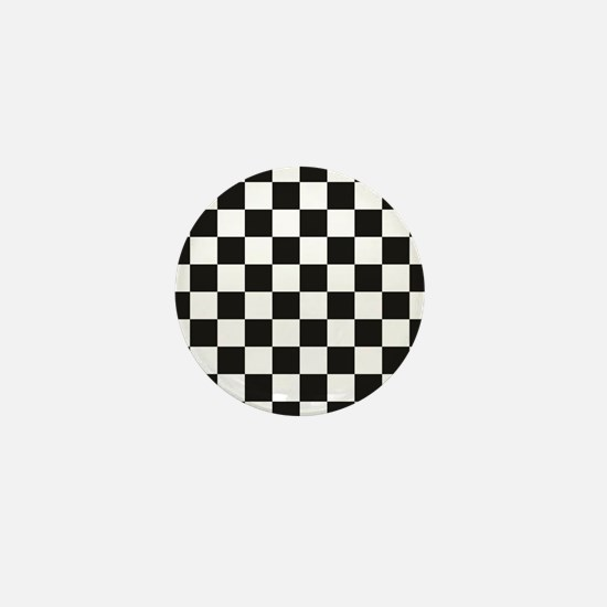 Big Black/White Checkerboard Checkered Mini Button