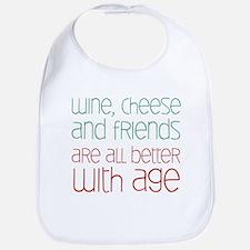 Wine Cheese Friends Bib