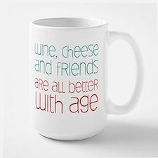 Wine Cheese Friends Large Mug