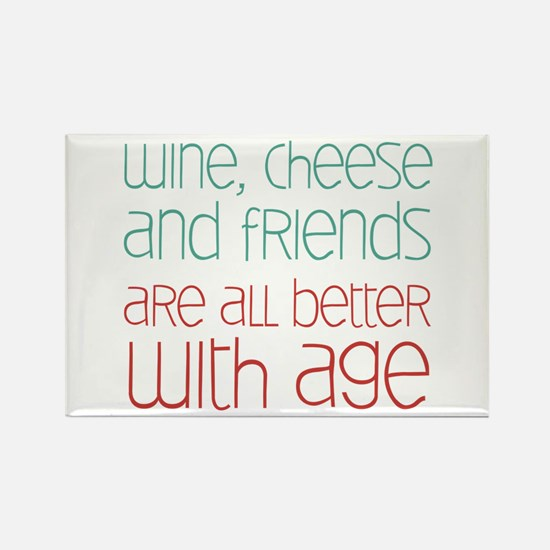 Wine Cheese Friends Rectangle Magnet