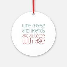Wine Cheese Friends Ornament (Round)