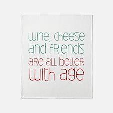 Wine Cheese Friends Throw Blanket