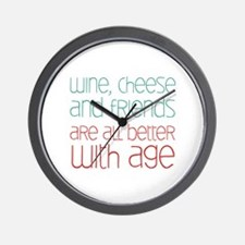 Wine Cheese Friends Wall Clock