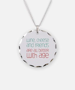 Wine Cheese Friends Necklace