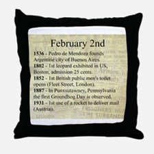 February 2nd Throw Pillow