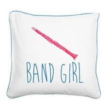 Band Girl Clarinet Square Canvas Pillow