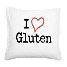 I Heart Gluten Square Canvas Pillow