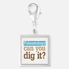 Paleontology Dig It Silver Square Charm