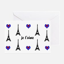 Stylish French I LOVE PARIS Greeting Cards