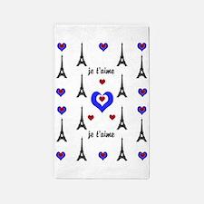 Stylish French I LOVE PARIS 3'x5' Area Rug