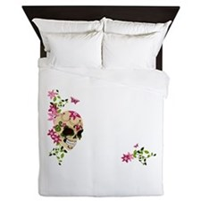 Sugar Skull with Stargazer Lilly Queen Duvet