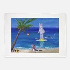 Easter Bunny at the Beach 5'x7'Area Rug