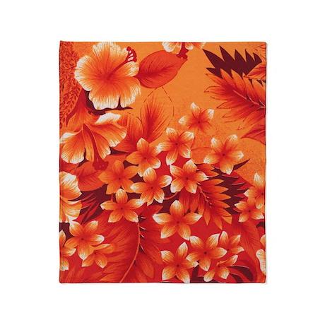 Orange Hibiscus Throw Blanket