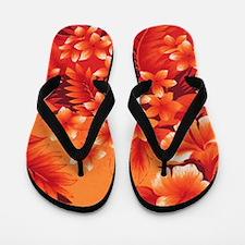 Orange Hibiscus Flip Flops