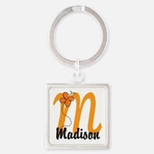 Custom M Monogram Square Keychain