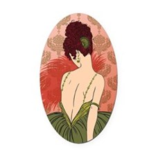 Art Deco Lady with Damask - BIANCA Oval Car Magnet