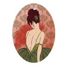 Art Deco Lady with Damask - BIANCA:  Oval Ornament